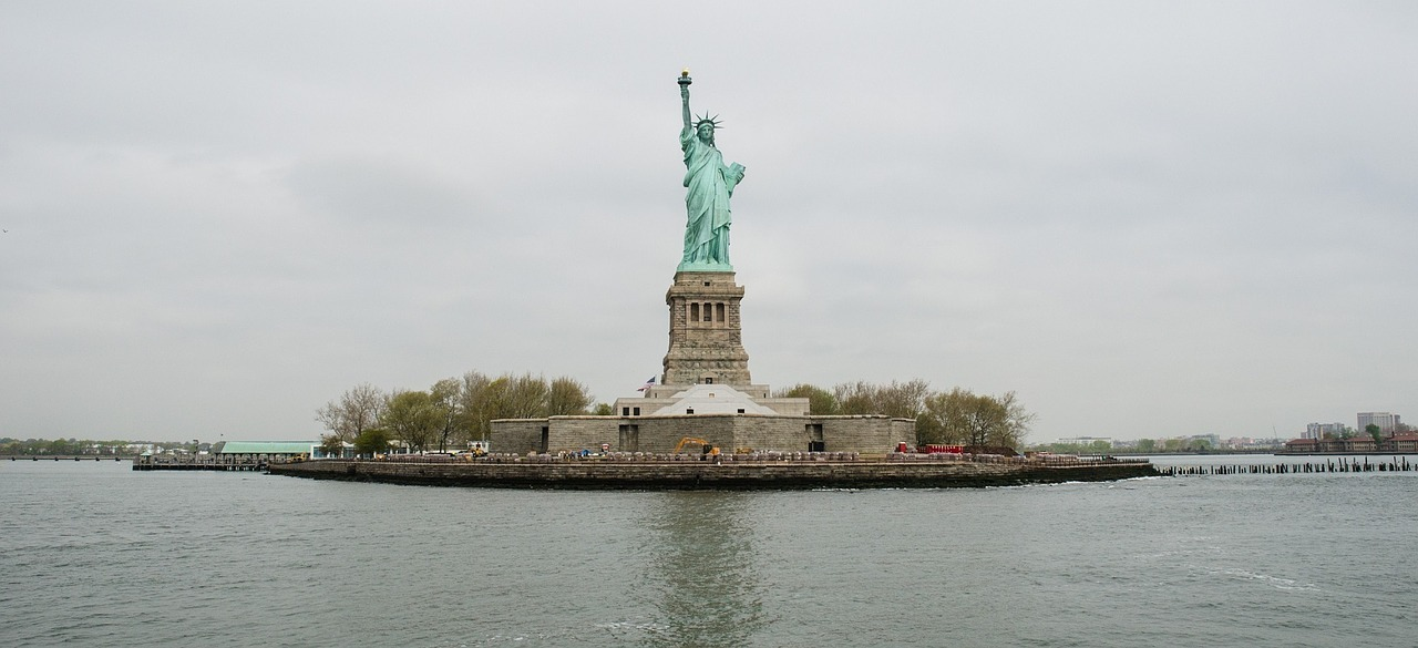 Statue of Liberty on Liberty Island in the middle of New York Harbor