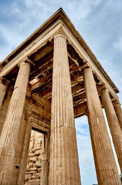 An Image Displaying Ancient Greek Architectural Columns and Pillars.